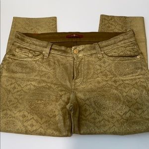 7 For All Mankind Gold Pattern Cropped Jeans